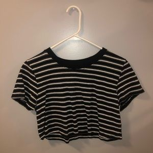 Urban Black and White striped crop top